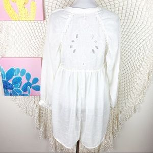 Free People Sheer Back Crochet Button Up Tunic S